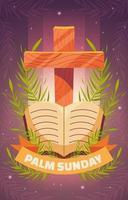 dimanche des palmiers avec croix et bibles vecteur