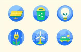 jeu d'icônes de technologie d'énergie renouvelable vecteur