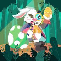 le lapin des oeufs chasseur vecteur