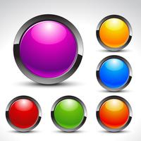 ensemble de vecteur de boutons web brillant