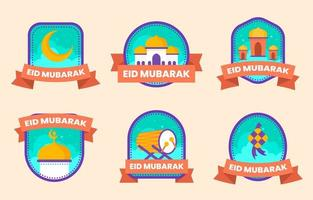 collection de badges plats eid idul fitri vecteur