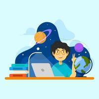 les enfants apprennent l'enseignement des sciences et de la technologie vecteur
