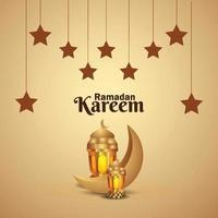 ramadan mubarak lanterne dorée et lune vecteur