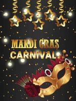 fond de fête invitation carnaval avec masque doré vecteur