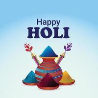 Joyeuse fête de holi avec pot de boue de couleur, bol de couleur et fond de couleur vecteur