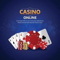 fond de casino réaliste avec des cartes à jouer créatives, des jetons de casino vecteur