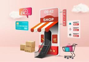 Boutique en ligne d'achat 3D à vendre, fond pastel rose 3d de commerce électronique mobile, boutique en ligne sur application mobile 24 heures. panier, carte de crédit. rendu de vecteur 3d de périphérique de magasin en ligne minimal shopping