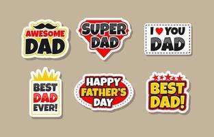 collection de jeux d'autocollants pour la fête des pères heureux vecteur