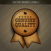 étiquette en cuir véritable vecteur