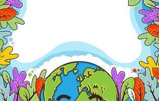 illustration plate du cadre de fond de jour de la terre vecteur