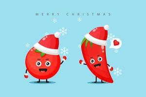 Jolie mascotte de tomate et de piment rouge portant un costume de Noël vecteur