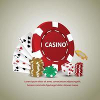 casino de poker avec cartes à jouer, pièce d'or, jetons de casino vecteur