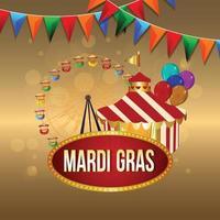 fond de célébration mardi gras avec chapiteau de cirque vecteur