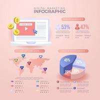 Infographie 3D remplie de diverses données marketing traitées vecteur