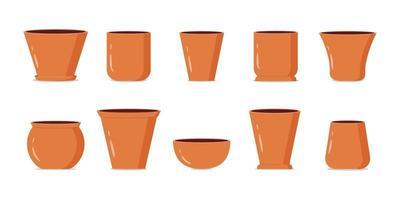 collection de pots de fleurs brunes vides vecteur