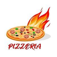 pizzeria, logo ou étiquette de restauration rapide. conception de menus pour café et restaurant. illustration vectorielle gratuite. vecteur
