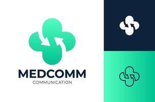 illustration vectorielle de flèche soins de santé logo design. Logotype de vecteur croisé médical connect.