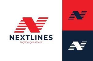 monogramme lettre n création de logo vectoriel entreprise entreprise. modèle de conception de logo lettre n. lettre inhabituelle de vecteur de vitesse rapide.