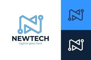 modèle de conception de logo lettre n tech. lettre n tech logo design icône vecteur stock modèle icône. alphabet initial n logo ligne conception technologie numérique