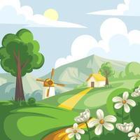 belle conception de paysage de printemps vecteur