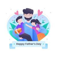 conception de la fête des pères heureuse vecteur