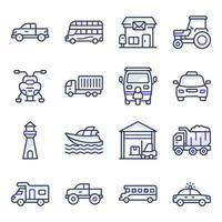pack d & # 39; icônes plates de transport