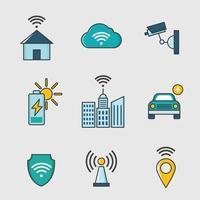 icône de la technologie de la ville intelligente vecteur