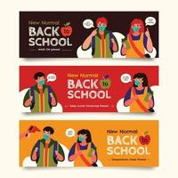 nouvelle collection de bannières de retour à l'école normale vecteur