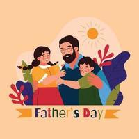 père et enfants célébrant la fête des pères vecteur