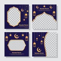 collection de publications sur les médias sociaux ramadan vecteur