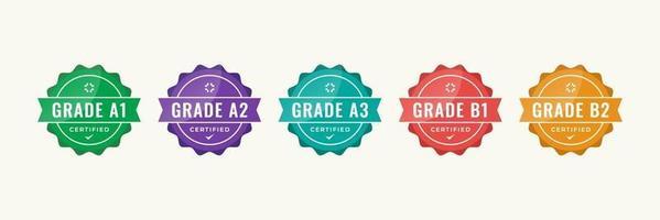 création de logo de badge certifié pour les certificats de badge de formation d'entreprise à déterminer en fonction de critères. set bundle certifier le modèle d'illustration vectorielle coloré. vecteur