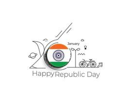 concept de jour de la république indienne avec texte 26 janvier. vecteur
