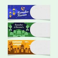 ensemble de bannière de célébration ramadan kareem vecteur