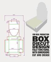 plateau design découpé avec dimensions, découpé, plié, plateau collé à quatre parois simples - coin collé, panneau non tissé - fermeture à replier comme présentoir vecteur