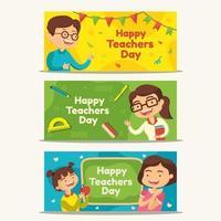 bannière de la journée des enseignants heureux vecteur