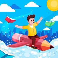 Boy ride crayon voler sur le concept de nuages vecteur