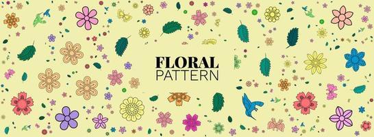 motif floral coloré dessiné à la main, conception de fond floral vecteur