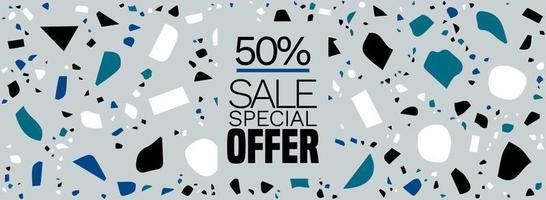 offre spéciale, bannière de vente, fond de terrazzo - motif de carreaux de sol en terrazzo abstrait Vecteur gratuit