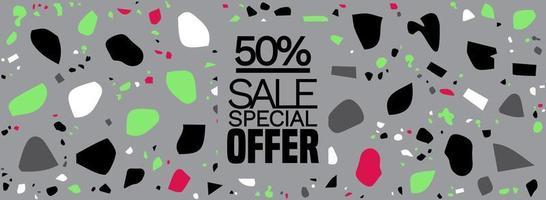 offre spéciale, bannière de méga vente, fond de terrazzo - motif de carreaux de sol en terrazzo fond abstrait Vecteur gratuit