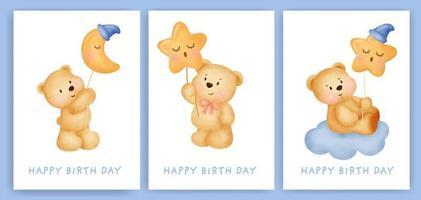 cartes de voeux joyeux anniversaire sertie d'ours aquarelle mignon. vecteur