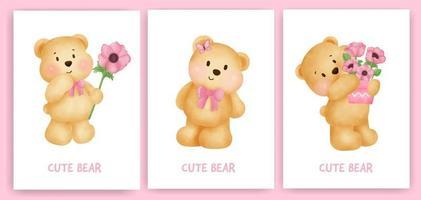 mignon ours en peluche tenant une carte de fleurs dans un style aquarelle. vecteur