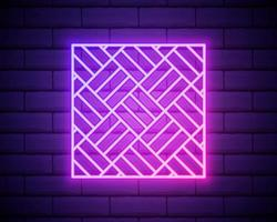 parquet rose brillant néon ui ux icône. vecteur de logo signe rougeoyant isolé sur mur de briques