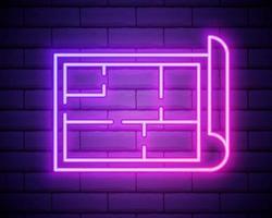 icône de plan de maison néon lumineux isolé sur fond de mur de brique. illustration vectorielle vecteur