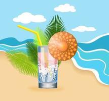 Image vectorielle d'un cocktail au bord de la mer, comme un concept de saturation et de fraîcheur apporté par une brise, qui se reflète dans un cocktail frais rempli de bulles vecteur
