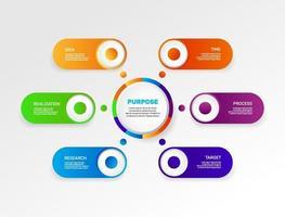 infographie. processus commerciaux colorés, flux de travail, diagramme. vecteur