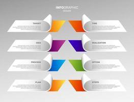 ensemble de graphiques infographiques. processus commerciaux colorés. vecteur