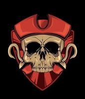 crâne de pirate avec crochet. illustration pour impression de t-shirt. illustration de mode vectorielle vecteur