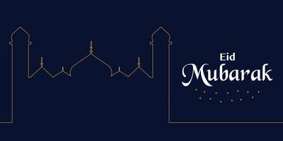 vecteur de ligne mosquée eid mubarak