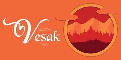 bonne journée de vesak avec le vecteur de borobudur