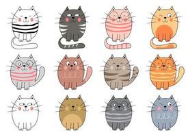 illustration de conception de vecteur de chat minou isolé sur fond blanc